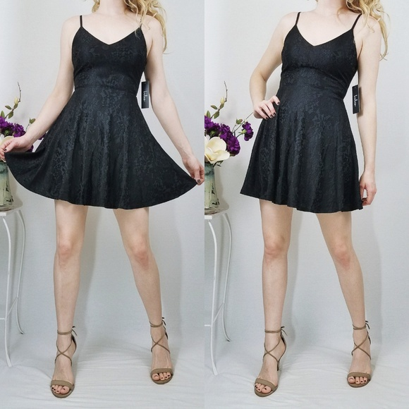 Way With Words Black Lace Mini Skater Dress Nwt